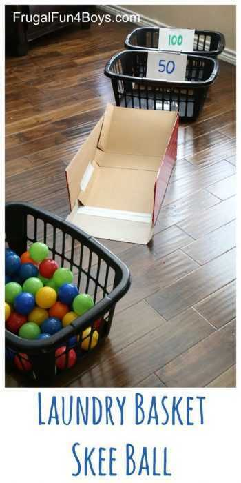 Indoor Snow Day Activities For Adults - Laundry Basket Skeeball