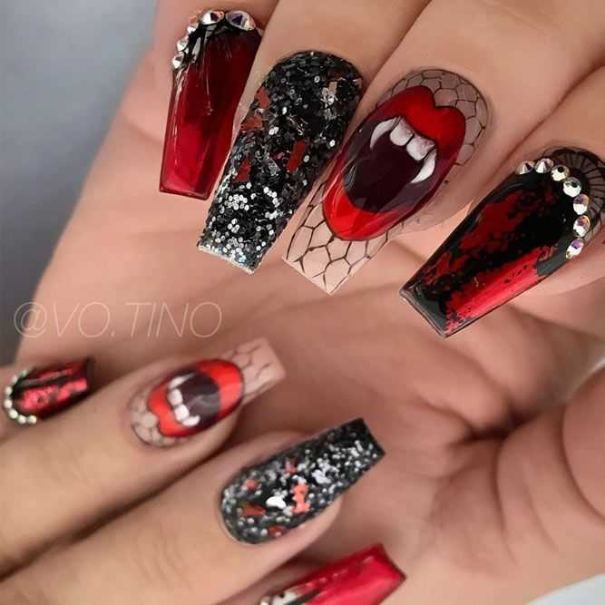 Halloween Nail Ideas - Fangs And Glitter