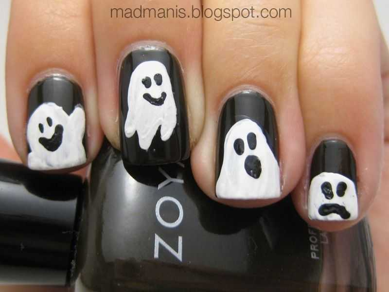Halloween Nail Ideas - Adorable Ghosts