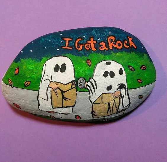 Halloween Painted Rocks  Two Ghosts Trick Or Treating And Got A Rock