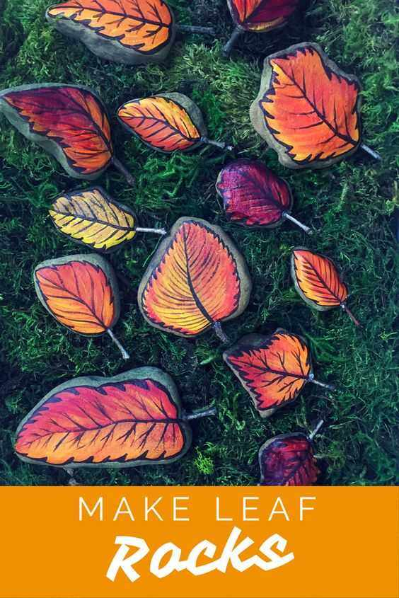 Fall Rock Painting Ideas  Autumn Leaves