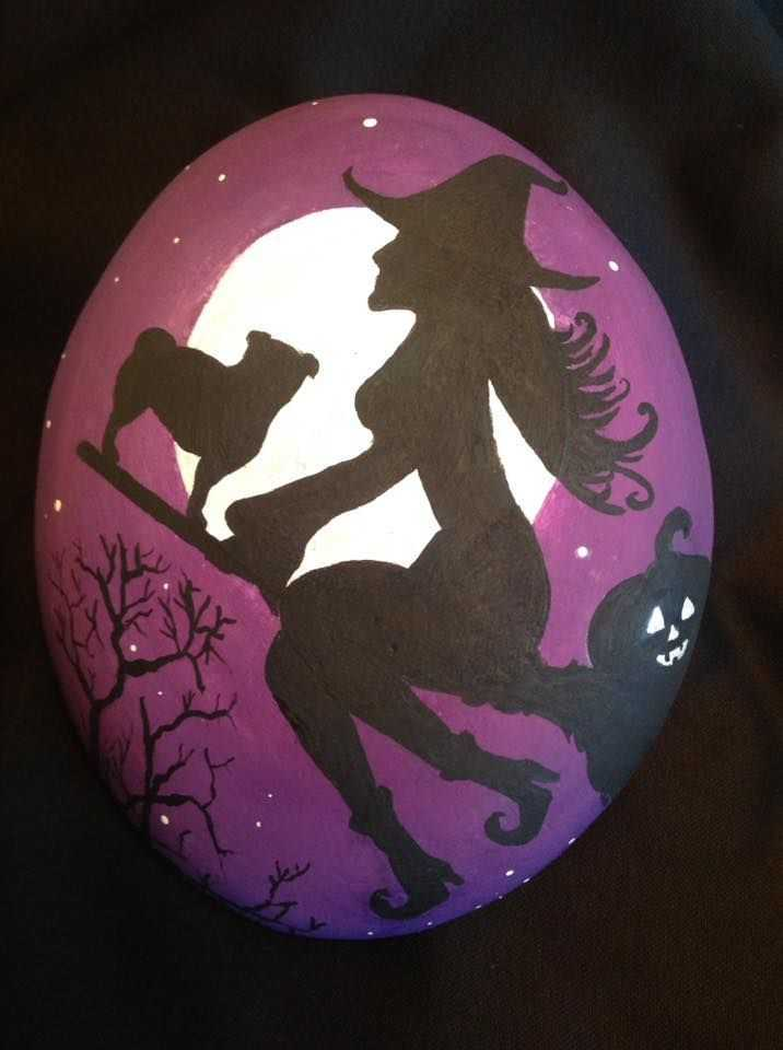 Halloween Rock Painting  Witch On A Broom Stick