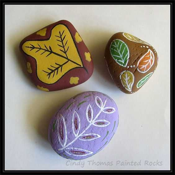 Fall Themed Painted Rocks  Leaves