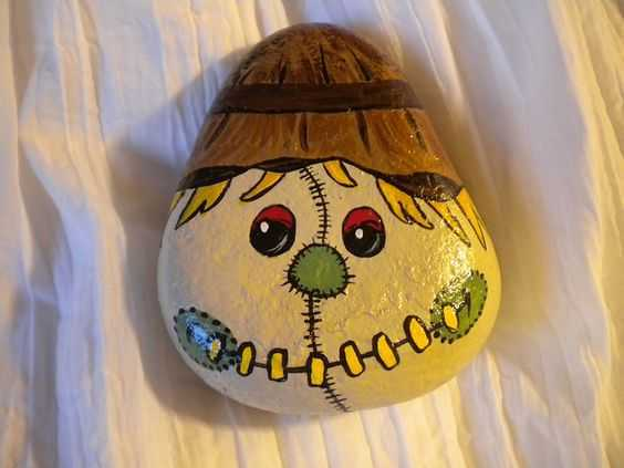 Fall Painted Rocks  Scarecrow Head