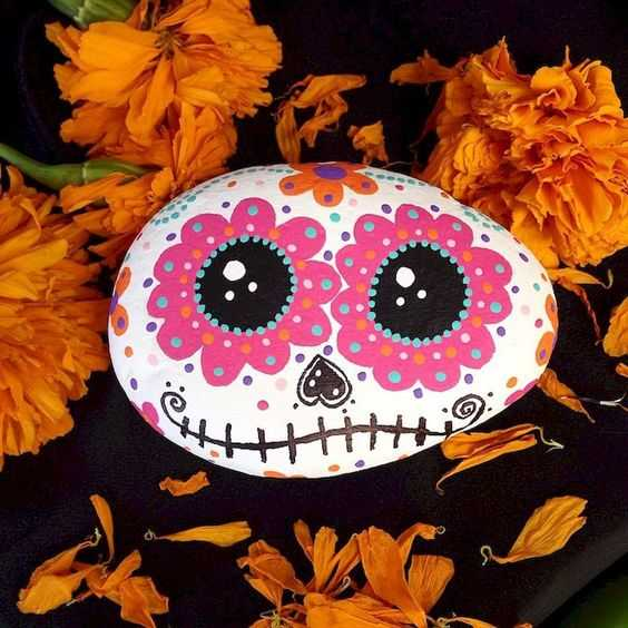 Autumn Rock Painting Ideas  Pumpkin With Floral Decorations