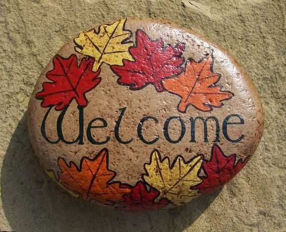 Fall Painted Rock  Welcome Rock Decorated With Red Yellow And Orange Maple Leaves