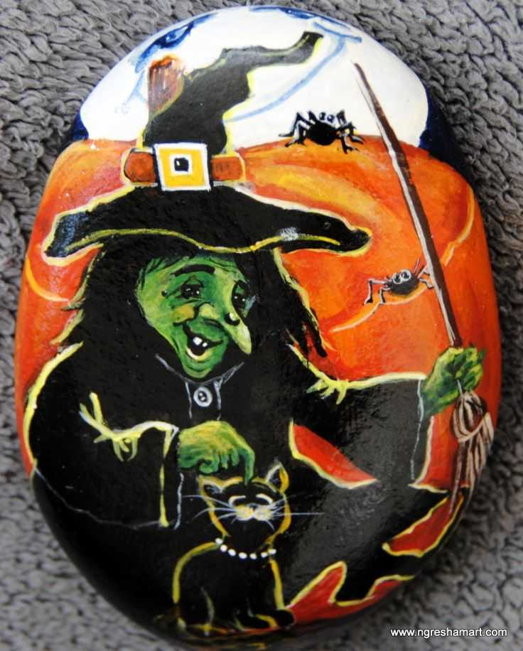 Halloween Painted Rocks  Witch With Pet Cat