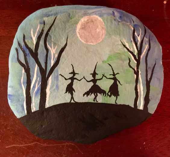 Halloween Painted Rock Ideas  3 Witches Dancing Under Full Moon