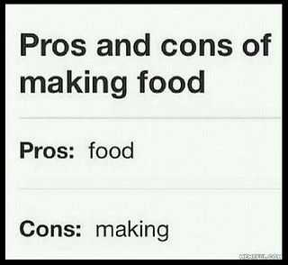 Funny Food Quotes  Pros And Cons
