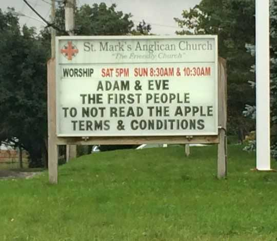 Funny Church Signs  Apple Terms And Conditions