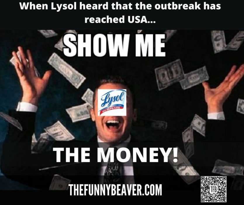 Funny Making Money From Crisis Memes  Lysol Showing Money