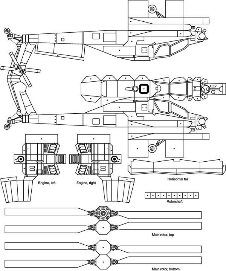 Apache Helicopter Paper Cutout 1