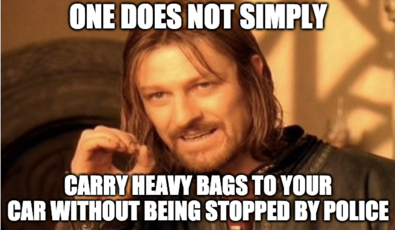 Police Stops Man Struggling With Heavy Bags Meme